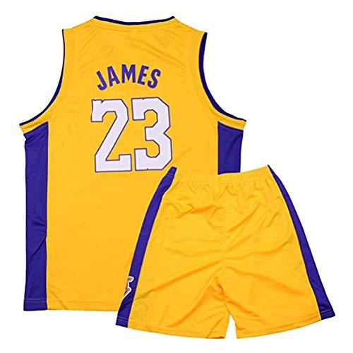 ACCZ # 23 James Lakers Kinder Basketball Trikot, Swingman Trikots, Jungen Mädchen Retro Ärmellose Sportweste, Feuchtigkeitstransport Schnell Trocknend Sommer Sportbekleidung Kits,Gelb,L