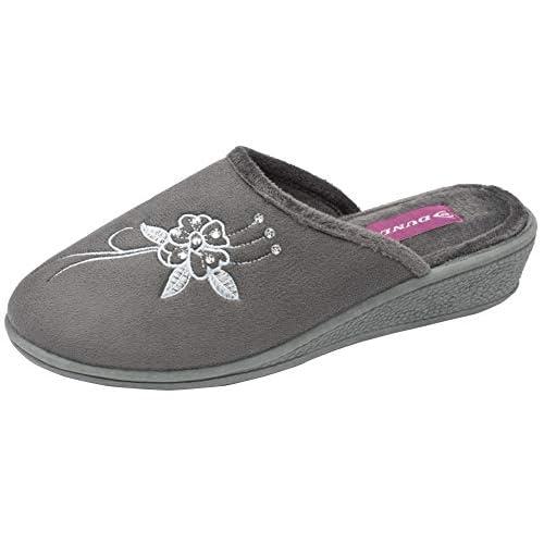 Dunlop - Pantofola da donna Pamela in memory foam, aperta sul retro, con zeppa bassa, colore: blu navy o lilla, numero: da 35,5 a 40,5, Grigio (Grigio), 36 EU