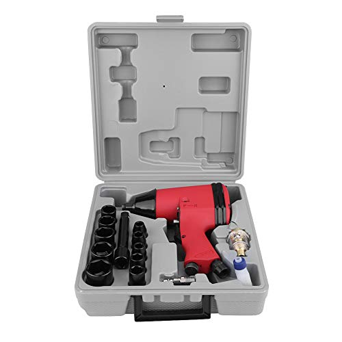 Lowest Price! Air Impact Wrench Kit, 1/2″ Heavy Duty Twin Hammer Handheld Pneumatic Impact Wrench Gun Set with Sockets, Adapter and Portable Carrying Case, 17Pcs
