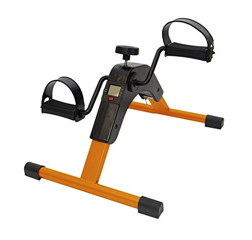 AdirMed Digital Foldable Mini Floor Foot Pedal Exerciser Leg Machine - Under Desk Exerciser - Fully Assembled No Tools Required (Orange)