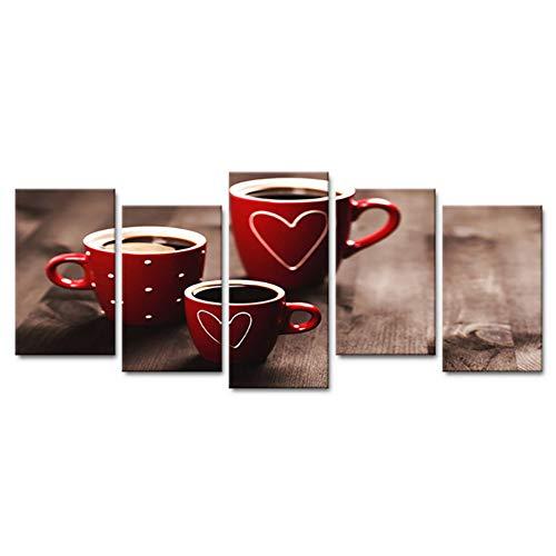 HD Gedruckt Dekor Leinwand Malerei 5 Panel Nostalgische Kaffeetassen Wandkunst Home Für Wohnzimmer Moderne Poster-40x80cmx4 40x100 cm