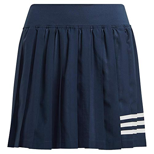 adidas Falda plisada Club Tennis para mujer - 22582, Falda plisada Club Tennis, S, azul marino / blanco