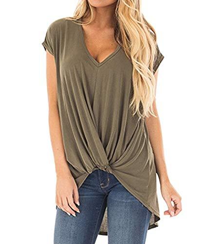 DEMO SHOW Damen Tunika Tops Kurzarm V Ausschnitt Geknotete Vorderseite Niedrig Unregelmäßiges Bluse T Shirt (Armeegrün, 2XL)