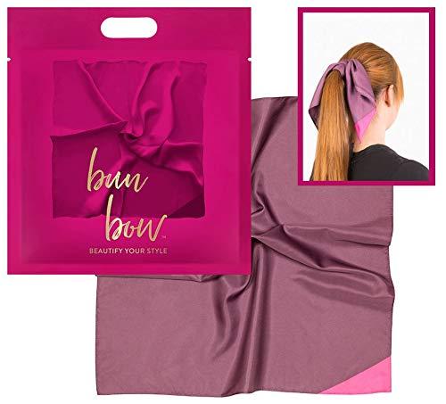 Pony Puffin Haartuch - Bun Bow Lila Beerenfarben Kopfband Nickituch Schleifentuch Seidenmatte Optik 50 x 50 cm Bandana Seidentuch