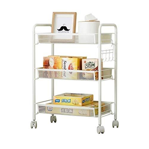 ZGQA-AOC Estantería baja dormitorio de almacenamiento en rack con las ruedas de la carretilla cuarto de baño salón (blanco, 63 * 26 * 45.2CM)