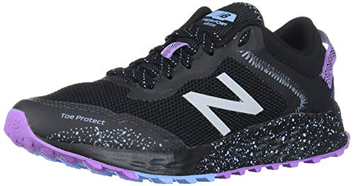 New Balance Women's Fresh Foam Arishi Trail V1 Running Shoe, Black/Purple/Neo Violet, 10.5 Wide