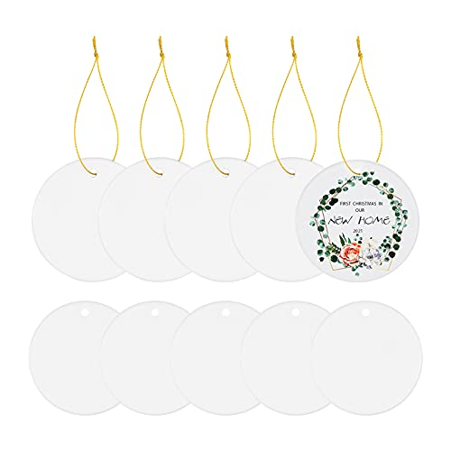 Sublimation Blank Ceramic Ornament, Round Ornament, 2.85 Inch White Porcelain Ornament with Gold String, for Crafting Christmas Tree Decor, DIY Personalized Home Decor Bulk(10 Pcs)