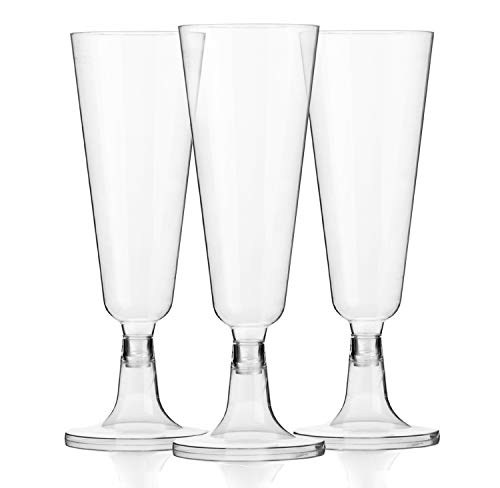 120 Plastic 5oz Champagne Glasses - Bulk Disposable Champagne Flutes for Wedding or Party