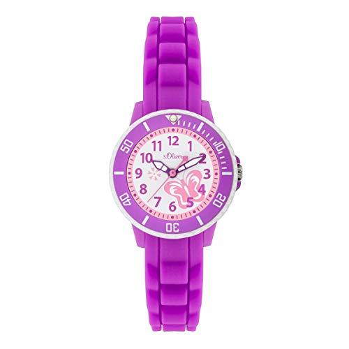 s.Oliver Mädchen Analog Quarz Uhr mit Silikon Armband SO-3775-PQ