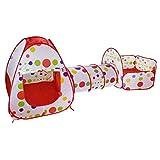 Tianbi Spielzelt Kinderzelt 3 in 1 Babyzelt mit Krabbeltunnel Teiliges Bällebad Pop up Spielzelt Babyzelt Spielhaus mit Zelt Tasche und Tunnel
