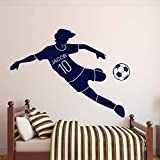 Tianpengyuanshuai Etiqueta de la Pared de fútbol Nombre Personalizado Etiqueta de la Pared de fútbol Decoración de la habitación de los niños Vinilo Decoración para el hogar 73X63cm