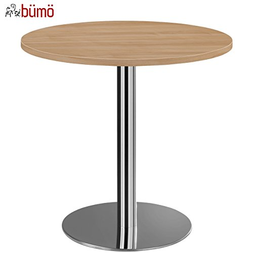 bümö® Säulentisch mit Chromsäule | Besprechungstisch | hochwertiger Meetingtisch in 3 Formen und 6 Dekoren (Nussbaum, Platte: rund-Ø 80cm)