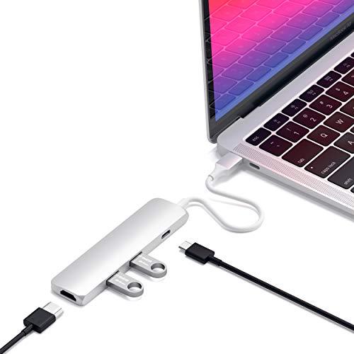 SATECHI Adattatore Multiporta Sottile Tipo-C in Alluminio con Porta di Ricarica USB-C, Uscita Video 4K HDMI, 2 Porte USB 3.0 Compatibile con MacBook Pro 2016 17 18, MacBook 2015 16 17 (Argento)