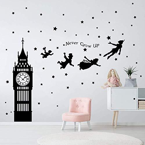 Pegatinas de pared Pegatinas decorativas de Peter Pan Big Ben volando hadas decoración de la pared dormitorio niños bebé jardín de infantes sala de estar