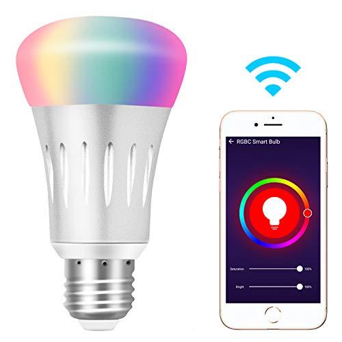 Ampoule Connectée, Yuanguo Ampoule LED E27 6000k+600LM 7W RGB Compatible avec Alexa Google Home Vocale Ampoule Intelligente Wifi Dimmable App Télécommande Fonction de Minuterie