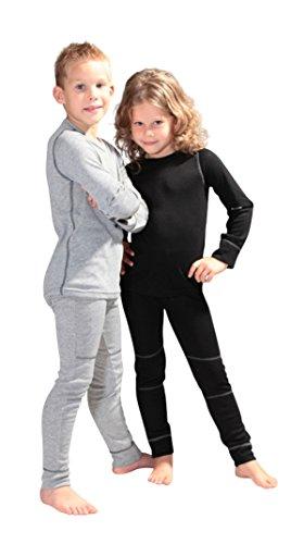 icefeld® - atmungsaktives Thermo-Unterwäsche Set für Kinder - warme Wäsche aus langärmligem Oberteil + Langer Unterhose: schwarz in Größe 134/140