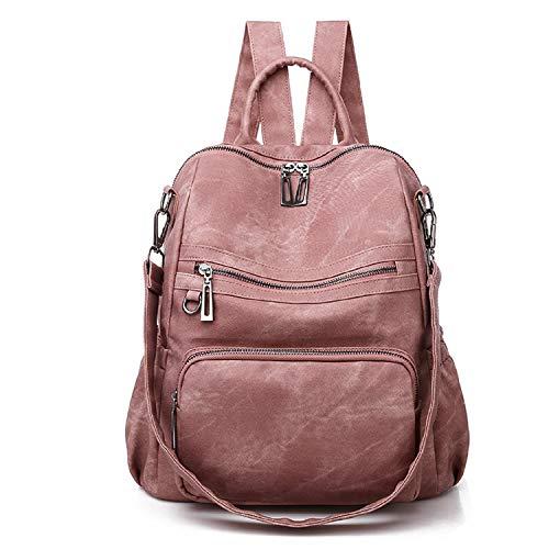 Freie Liebe Bolso de cuero de la mochila para las mujeres de la manera grande convertible bolsos de hombro, 02-rosa, Large