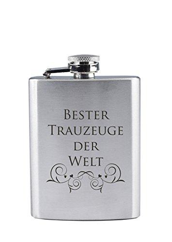 Edelstahl Flachmann mit Gravur - Bester Trauzeuge der Welt - als Geschenk oder als Dankeschön nach der Eheschließung (190 ml)
