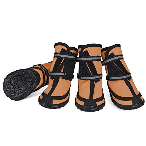 Dociote Hundeschuhe pfotenschutz mit Anti-Rutsch Sohle, reflektierendem Riemen, Klettverschluss wasserdicht Schneeschuhe für mittelgroße große Hunde 4 Stück Orange XL