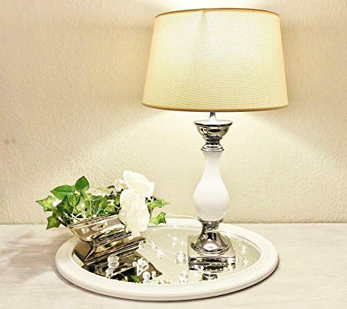 DRULINE Tischlampe Lampe Nachttisch leuchte mit Schirm Klassische Dekoration fürs Schlafzimmer   Wohnzimmer  ...