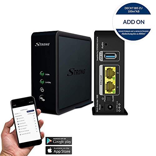 Strong Mesh Home Kit 1600 Addon - Wi-Fi-System - Repetidor de Red (1600 Mbit/s, Gigabit), Color Negro