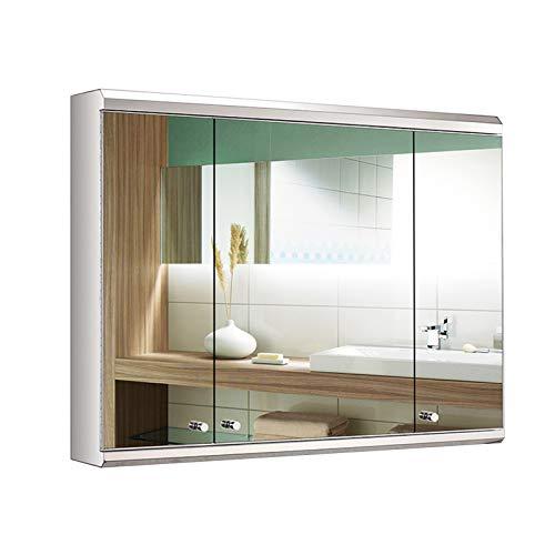 Armarios con Espejo de Acero Inoxidable para Baño, Armarios de Medicinas en Pared con 3 Puertas de Espejo, Acabado Cromado Pulido, Plateado,80x60cm