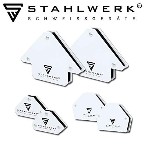 6 × STAHLWERK Magnetische Schweißwinkel Magnetwinkel Schweißmagnet, 30° x 45° x 60° x 75° x 90° x 135°, Haftkraft zwischen 9 lbs & 25 lbs / 4 & 11,3 kg, weiß