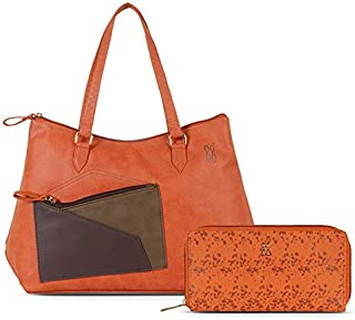 Baggit Women's Handbag with Wallet (Orange) (Set of 2)