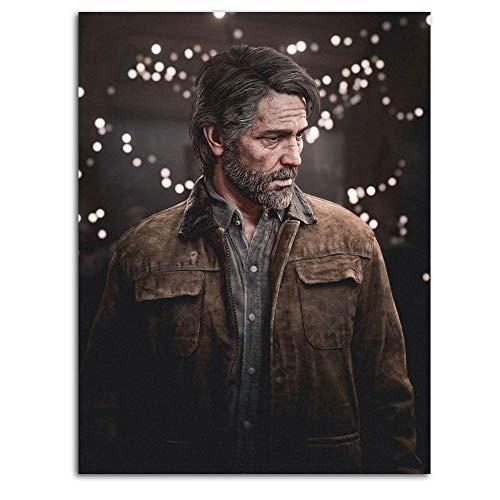 Ghychk The Last of Us Part 2 - Lienzo de pintura al óleo (61 x 91 cm), diseño de juegos de aventura de Ellie y Joel, sin marco, listo para colgar