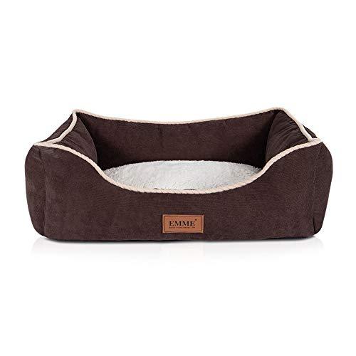 EMME - Cama ortopédica para perros pequeños, medianos y grandes, refuerzo en forma de T, muy afelpado, con funda extraíble lavable