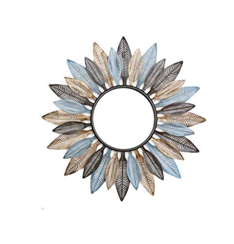 HongTeng Blatt Glasspiegel Schmiedeeisen Hohl Druck Vanity Spiegel Multicolor Solid Hintergrundwand Home Hängende Dekoration 87,5 × 87,5 cm