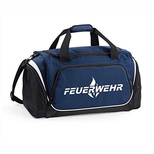 Hochwertige Feuerwehr Sporttasche - 62x32x30cm - 55 Liter - Tasche - Umhängetasche - Fitnessbag - Bag - Tragetasche - Reisetasche - Rettungsdienst - THW - Sportbag (Navy Blau)