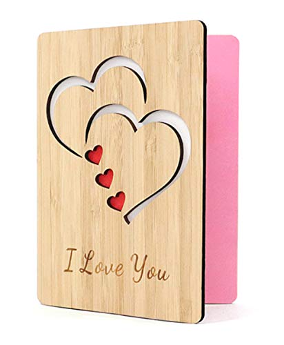 I Love You Cards,Real Bamboo Wood,Wooden Greeting Cards for Any Occasion, Used for Birthdays, Valentine's Day, Weddings, Mother's Day, Anniversary