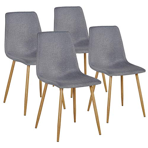 VECELO Modern Dining Side Chairs Fabric Cushion Seat Back Sturdy Metal Legs for Living Room,Set of 4, Gray