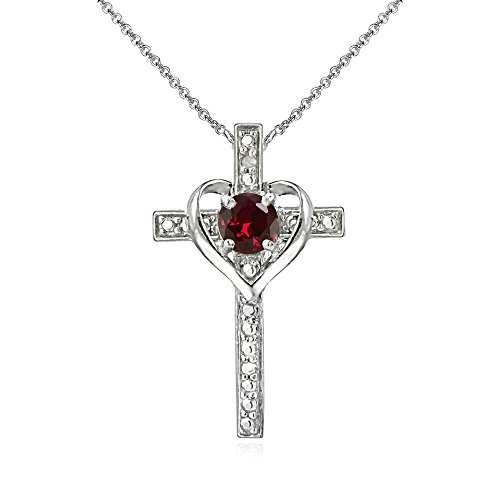 Sterling Silver Synthetic Ruby Cross Heart Pendant Necklace for Girls, Teens or Women