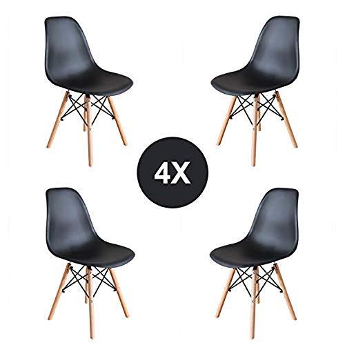EGNM Pack 4 Sedie da Pranzo Sedia da Ufficio Design Nordico Sedia in Stile retrò (Nero -4)