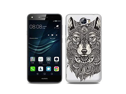 etuo Handyhülle für Huawei Y6 II Compact - Hülle, Silikon, Gummi Schutzhülle - Azteken Wolf