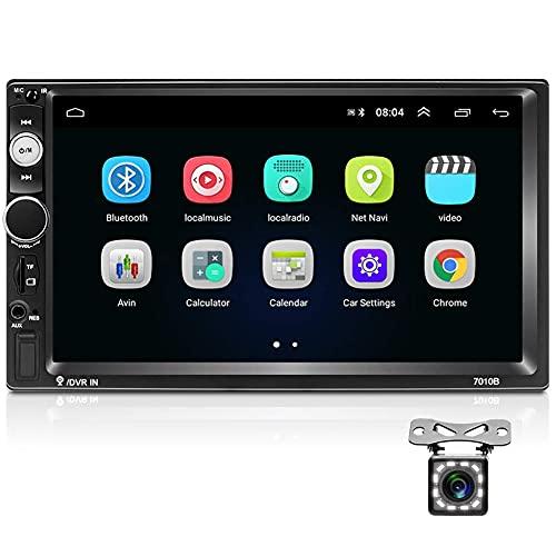 Android 9.1 Autoradio Bluetooth 2 DIN 7 Pollici 1080P HD Touch Screen Supporto GPS Navigation WiFi Collegamento Mirror FM Radio 2G 16G Car Multimedia Radio (Telecamera Posteriore Inclusa)