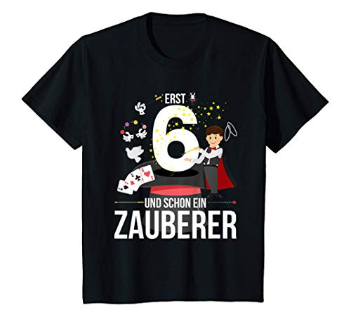 Kinder 6. Geburtstag Junge Geschenk Shirt: Erst 6 & Schon Zauberer! T-Shirt