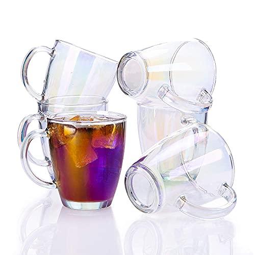 SUNNOW Vastto 11 Ounce Iridescent Glass Coffee Mug Warm Beverage Mug,for Latte,Cappuccino,Hot Chocolate,Tea and Juice,Set of 6 (Rainbow-colored)