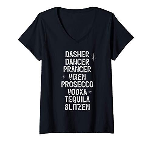 Womens Christmas Reindeer Alcohol List Dancer Prancer Vixen V-Neck T-Shirt