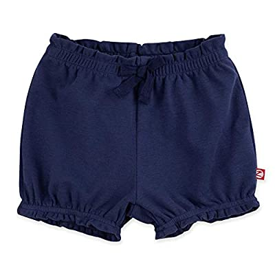 Zutano Baby Girl Organic Cotton Ruffle Shorts, True Navy Solid, 12M