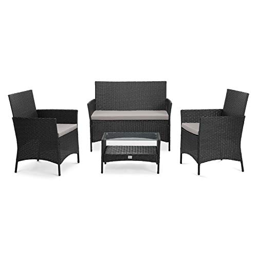 SVITA Brooklyn Gartenmöbel Poly Rattan Sitzgruppe Essgruppe Set Sofa-Garnitur Lounge (Schwarz)