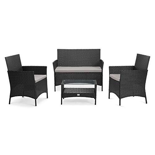 SVITA Brooklyn 2020 Gartenmöbel Poly Rattan Sitzgruppe Essgruppe Set Sofa-Garnitur Lounge (Schwarz)