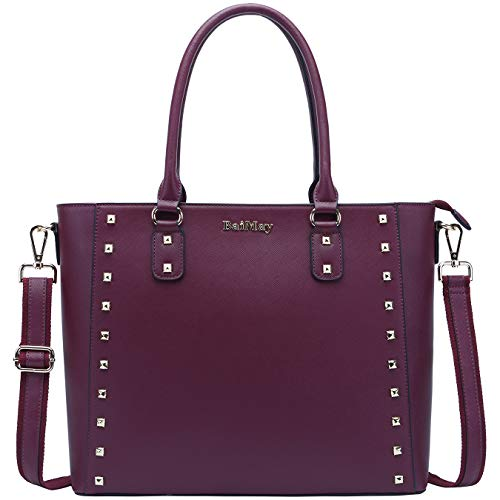 BAIMAY Laptop Bag for Women Laptop Totes Computer Bags Business Briefcase-for-Women Chic Work Purse with Charm Stud for Office School Travel, Burgundy, 15.6 inches