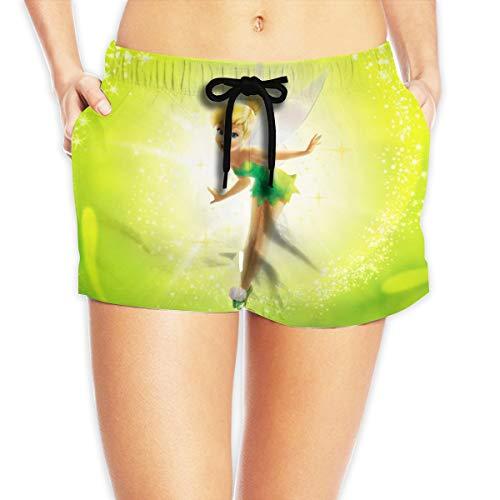 HADIHADI Cartoon Tinker Bell Damen Printed Beach Shorts Drawstring Board Female Pants Badehose Strand Boardshort Gr. M, weiß