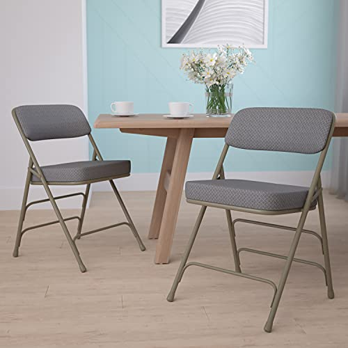 Flash Furniture 2 Pack HERCULES Series Premium Curved Triple Braced & Double Hinged Gray Fabric Metal Folding Chair