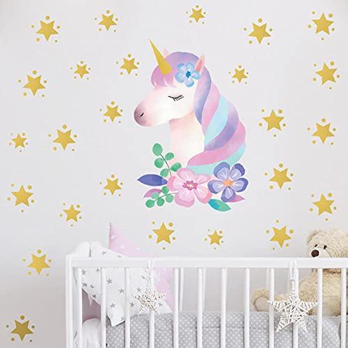 Pegatina de pared de acuarela, calcomanías de decoración para habitaciones de niños y bebés, murales de vinilo extraíbles, carteles de PVC decorativos para el hogar