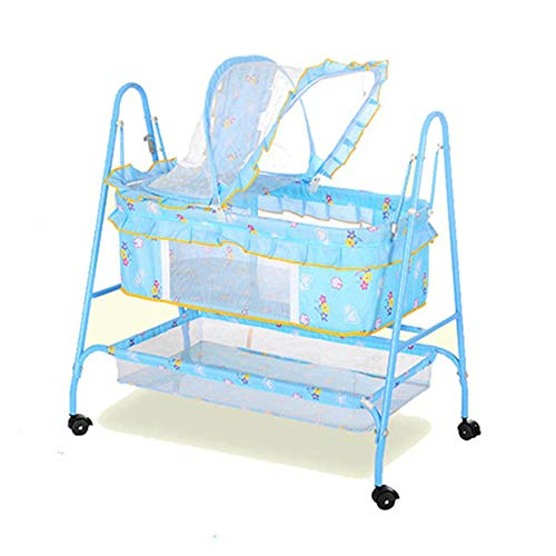 XWSD Rocking Bassinet for Newborn Baby, Environmental Protection, Moisture Proof and Wear Resistant, Thickened Iron Pillar, for 0-1 Year Old Baby