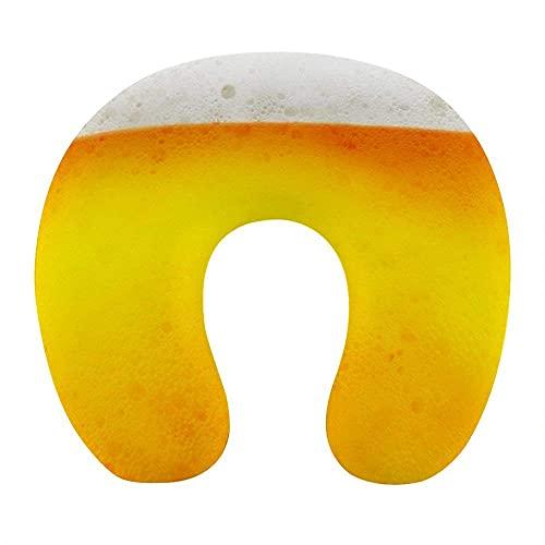 Atmungsaktives, Komfortables gelbes Bier-Bubble-Neck-Kissen Weicher Memory-Schaum U-förmiges Reisekissen für das Home-Office-Auto des Flugzeugs